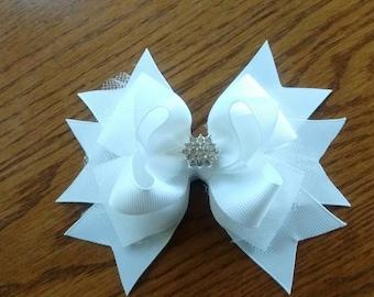 White Easter Hair Bow, Pageant Hair Bow, Dressy Hair Bow, White Hair Bow