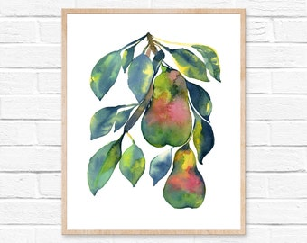 watercolor pear watercolor kitchen decor pear watercolor painting wall art kitchen art home decor watercolor art pear painting
