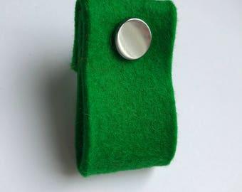 door handle in grass green