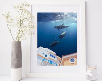 "Dolphins print, surreal collage art, ocean poster, dolphins wall art, surreal art print, dolphins art print, dolphins decor - ""Summer house"""