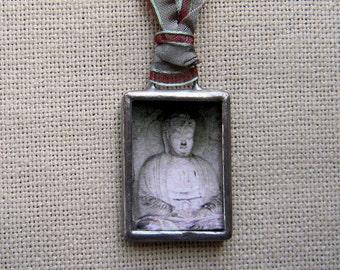 Buddha Necklace - Buddha Jewelry - Glass and Photography Pendant - Asian Art Jewelry - Wearable Art