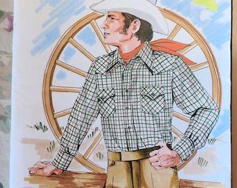 Vintage Kwik-Sew Pattern 457 Men's Western Shirt Pockets Cowboy Rancher Chest 36-40
