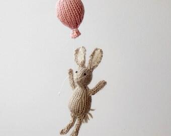 Bunny Baby Mobiles, Bunny Ornament, Bunny Baby Mobile, Balloon Mobile, Baby Hanging Mobile, Christmas Ornament, Traveler Nursery, Pink Decor