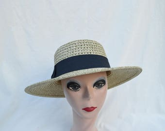 Straw Boater Hat With Black Ribbon Band / Straw Boater Hat / Sand Heather Women's 3 Inch Brim Straw  Hat / Retro Style Summer Straw Hat