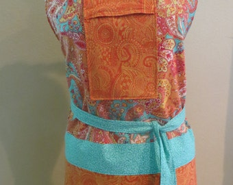Apron in Orange and Turquoise