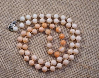 Vintage Natural Angel Skin to Salmon Coral Gradation Bead and Sterling Necklace