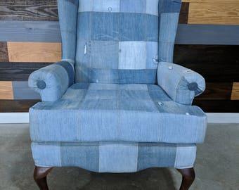 Denim Wingback Chair