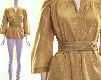 Vintage 60s Gold LUREX Blouse Kimono Sleeves Bell Sleeves Ruched Pleating Rare Top Medium Large