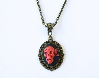 Red Pirate Cameo Necklace / Skulls / Antique Bronze Necklace / Gift For Her / Goth Necklace / Red and Black / Skull Pirate / Steampunk