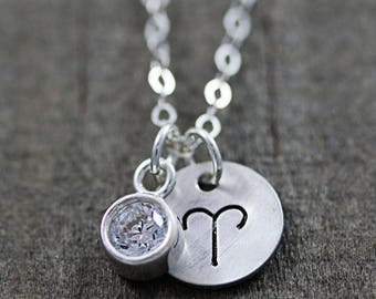 Sterling Silver Aries Necklace - Birthstone Necklaces for Women - Zodiac Jewelry - Birthday Gifts for Her - Astrology Jewelry - 12 Styles
