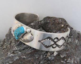 Man's sterling silver cuff bracelet, turquoise, marked sterling, southwestern, vintage, 58.7 grams