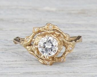 Diamond Halo Twig Engagement Ring, Large Diamond Twig Ring for Her, Gold & Diamond Bridal Twig Engagement, Unique Round Cut Ring