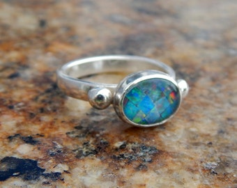 Sale Opal Sterling Silver Ring size 7.5
