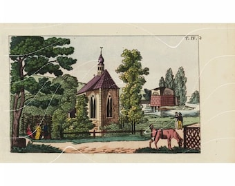 Original Antique Landscape Hand Colored Engraving -  Stunningly Gorgeous.Over 200+ Years Old