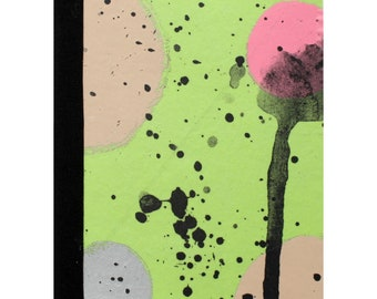 Notebook by Fiona Hamilton - One Off, Paint, Pattern, Splash, Splodge, Foil, 48 Pages, Pink, Green, Silver