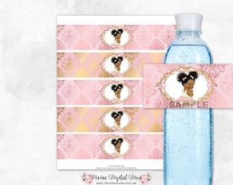 Water Bottle Labels Blush Pink & Gold Damask | African American Princess Afro Puffs Tulle Dress | Digital Instant Download