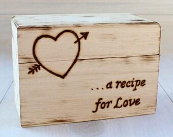 Personalized Recipe Box, Wedding Gift, Wooden Recipe Box, Recipe Storage, Rustic Home Decor, Bridal Shower Gift, Farmhouse Style Box