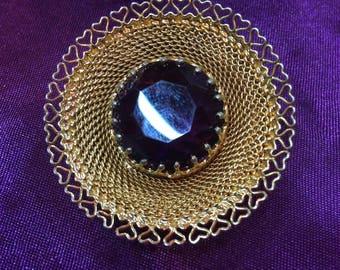 Detailed Purple Gem Brooch