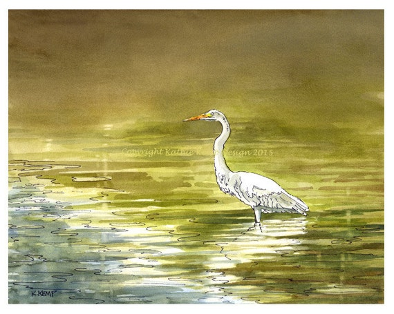 Beach House Wall Decor White Egret Bird Pen and Ink Watercolor