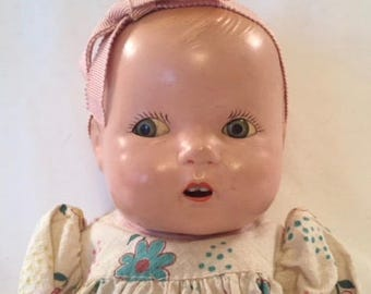 "All Composition, Original 12"" Toddler, Unmarked with Tin Flirty Eyes.  Ideal or Horsman?"