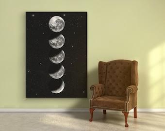 Moonphase print. Moon Wall Art. Moon Nursery. Moon Phases Print. Moon Chart. Moon Poster. Moon Phase Poster. MoonPhase. Moon Print. Moon Art
