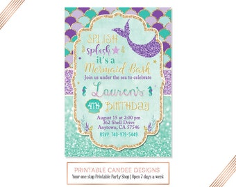 No photo Mermaid Invitation Mermaid Birthday Invitation Teal Purple Gold Mermaid Invitation Under The Sea Invitation Mermaid Birthday Party
