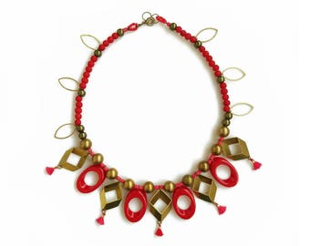 Red Gold Statement Necklace, Geometric Tasseled Necklace, Beaded Necklace