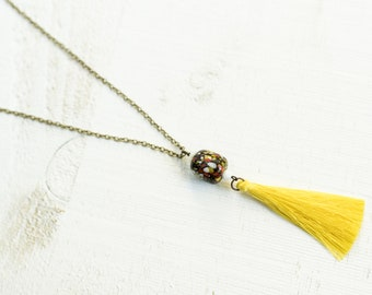 Speckled Lampwork Bead and Tassel Necklace ||  Glass Charm with Silky Tassel || Layering Necklaces || Canadian Seller