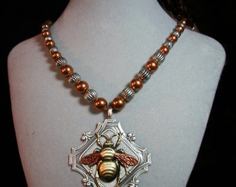 "Large Vintage Bee Pendant on a ""Chain"" of Silver Plated and Copper Colored Swarovski Pearl  Beads"