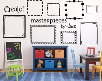 Kids art display frames, Picture frame wall decals, Playroom wall decal, Playroom wall decals, Masterpieces wall decal for kids DB406