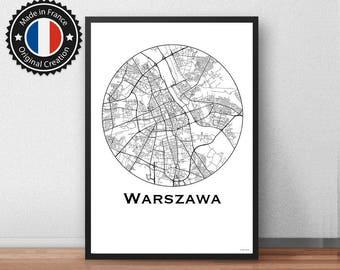 Affiche Varsovie Pologne Minimalist Map - City map, Poster de ville, Décoration murale, Plan de ville, carte