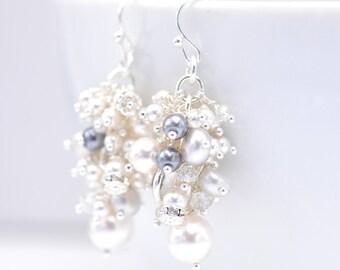 Pearl Cluster Earrings | Pearl Earrings Wedding | Bridal Pearl Earrings | Crystal Pearl Earrings | Bridesmaids Jewelry