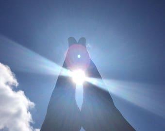 SunFeet - Print - Fine Art Photography - sky - sunlight - feet - clouds - blue - white