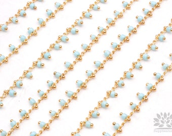 C300-SB// Gold Plated Sky Blue Beads Chain, 50cm