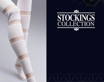 ST1033 The Vogue White Lace Stripe Fashion Stockings for Barbie Fashion Royalty FR2 Poppy Parker Silkstone
