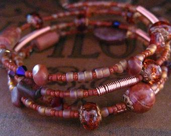 Beaded Memory Wire Bracelet Multi Strand Jasper and Picasso Jasper Wrapped Bracelet