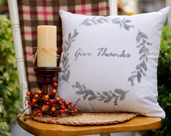 "Give Thanks - pillow cover (18""x18"")"