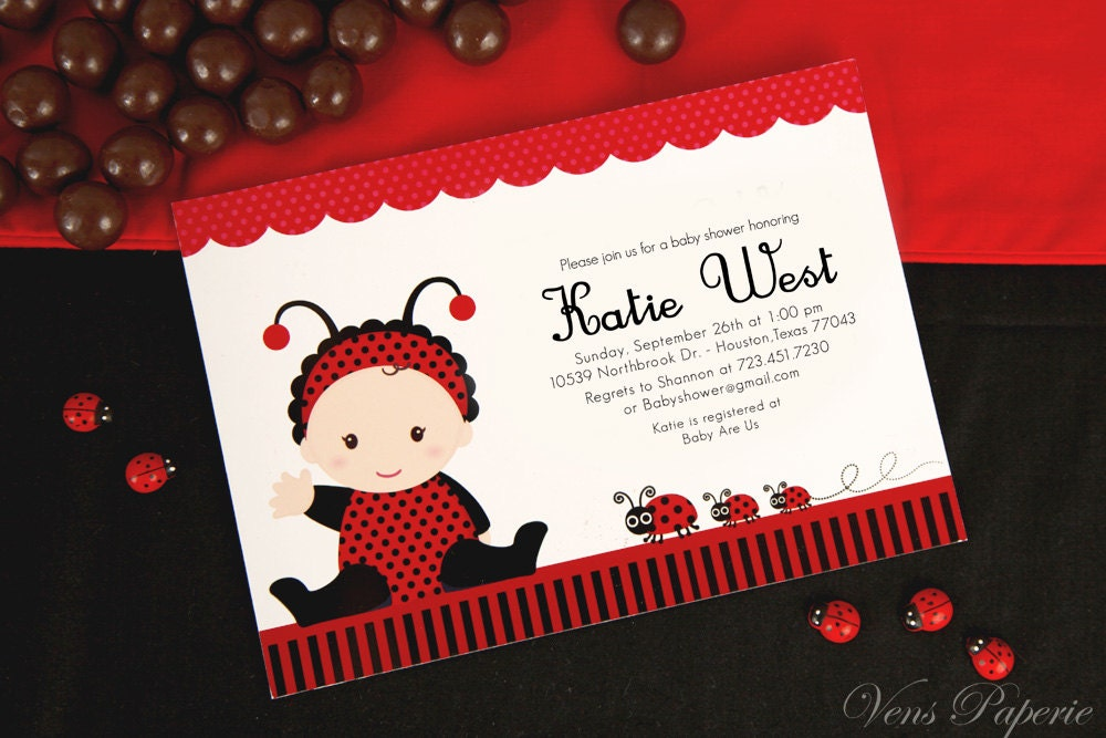 Diy printable invitation card red lady bug baby shower zoom stopboris Image collections