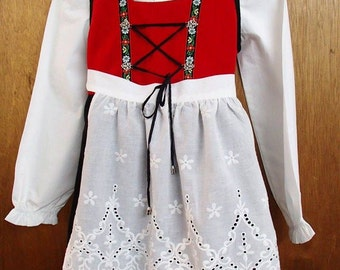 Norwegian Hardanger Style Costume Bunad Dress for Girls