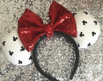 White and Black Mickey Head Minnie Mouse Ears