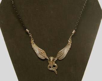 Silver Cobra Cross  or Winged Flying Cobra Pendant Necklace
