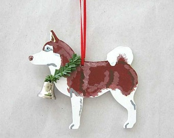 Hand-Painted SIBERIAN HUSKY RED Wood Christmas Ornament Artist Original...choose pine or candy cane design