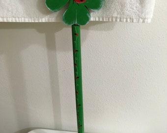 Plunger Upcycled Lady Bug on Four-Leafed Clover Bathroom Decor Handmade Hand Painted Gift Idea