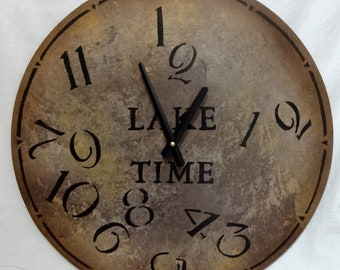 18 Inch LAKE TIME CLOCK in Warm Earth Shades with Jumbled Numbers