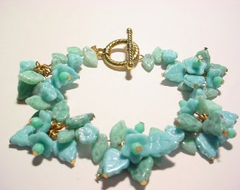 Blue and Green Turquoise Glass Bead Garden Bracelet Discounted