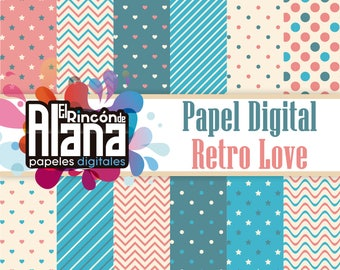 "12 Digital Papers 12 ""Retro Love 300"