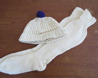 Vintage Knit Cream Socks & Pompom Hat - Vintage Knitwear