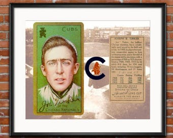 Chicago Cubs -Joe Tinker - 1910 Chicago Cubs - Baseball Card Print -Information Card - 1910 Word Series