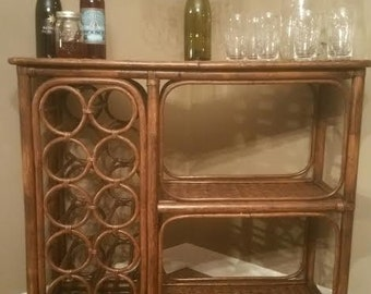Vintage rattan Bar - Wicker Bar - Rattan Bar - Vintage Bar - Mid Century Bar - Bamboo Bar - Wine Rack Table - Wine Bar - Wine
