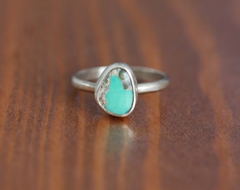 Carico Lake Turquoise Ring, Sterling Silver Ring - Size US 5.5
